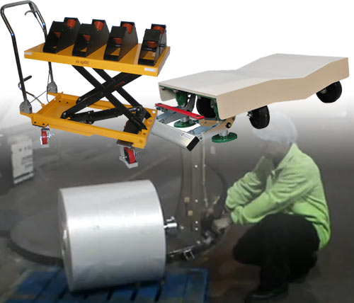 Roll Trolley Lifter And Roll Turner For Handling Paper